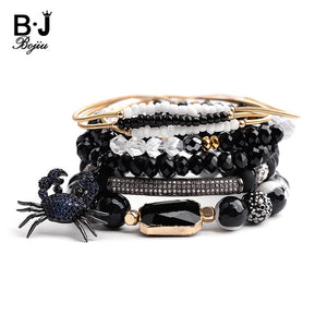 Trendy Spider Square Charm Bracelets For Women Black Crystal Onyx Gold Spring Natural Stone Bracelet Set