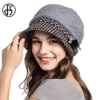 Autumn Warm Winter Elegant Wool Fedora Hats Gray Orange Camel Women's Felt Floppy Foldable Bucket Caps