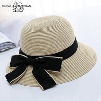 2018 New Sun Hat With  Big Black Bow  Foldable Straw Beach Panama Hat Visor Wide Brim Hat