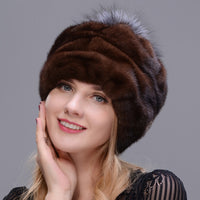 2018 New Style Round Hat Integrated Real Mink Fur With Fox Fur Pompom