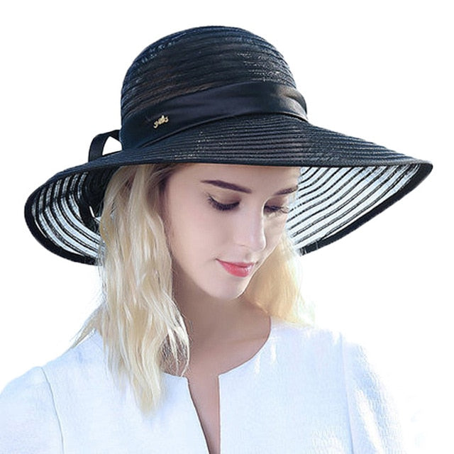 Summer Black Blue White Large Brim Straw With Bowknot Ribbon Decoration Sun  Hat 235b86d2bb43