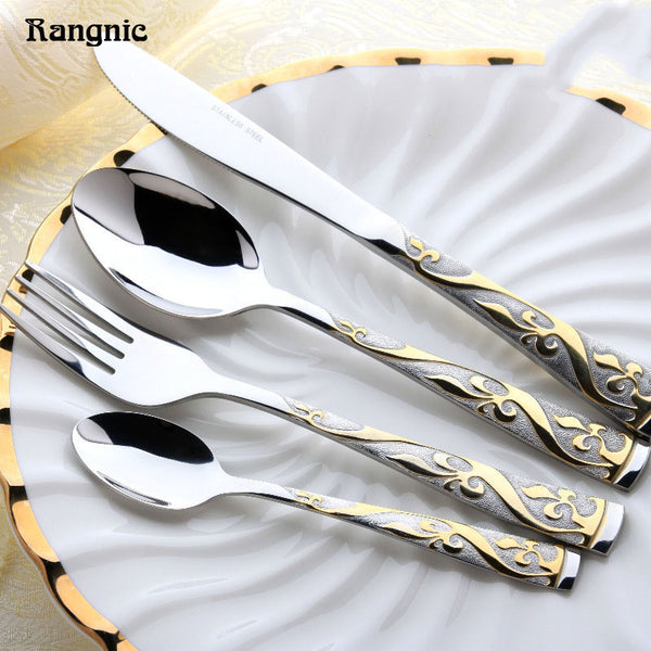 Western Gold Cutlery Set Stainless Steel Flatware Hotel Top Knifes Colher Silver Fork Spoon Western Dining Tableware set 4pcs P40