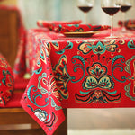 Red Ethnic Flower Square Tablecloth Dining Table Cloths Linen Rectangular Multi Sizes Table Covers For Party Home Weddings Decor
