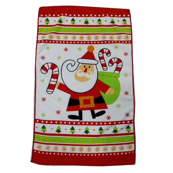 38*64cm Santa Claus Printed Microfibre Tea Towel Kitchen Washcloth Cleaning Tool Multipurpose Table Cloth Christmas Gift