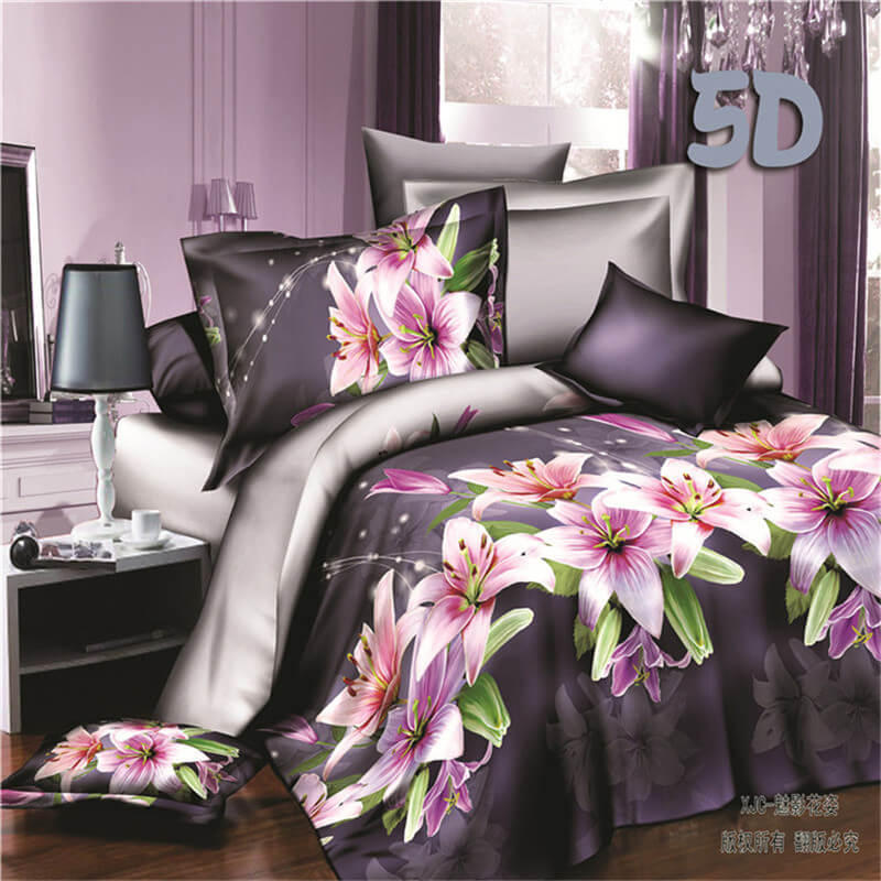 3D lily print fitted sheet and pillowcase set