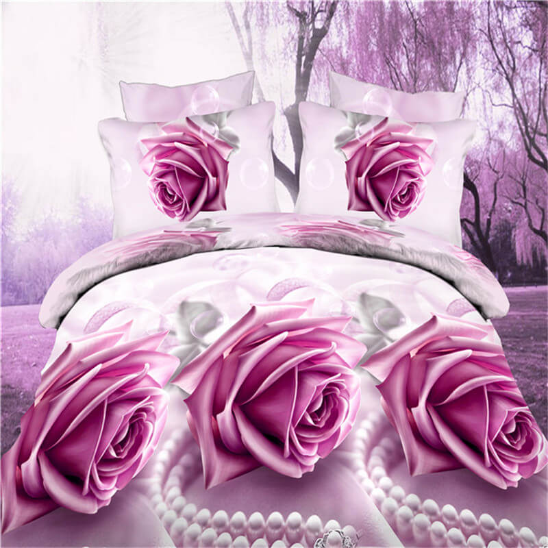 3D pink Rose flower bedding