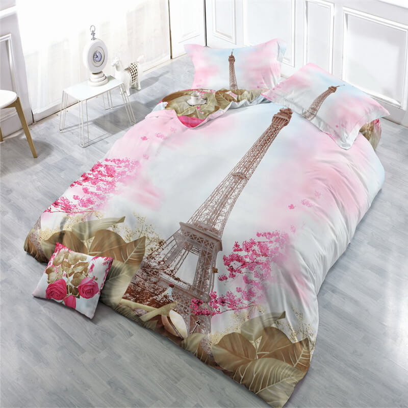 bed sheets online shopping 3d Tower print queen mattress sheet set