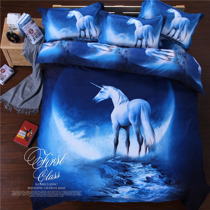 3d duvet covers white horse galaxy sheets