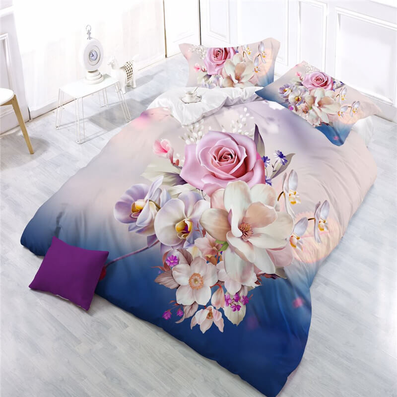 3d flower printed patterned sheets and pillowcases