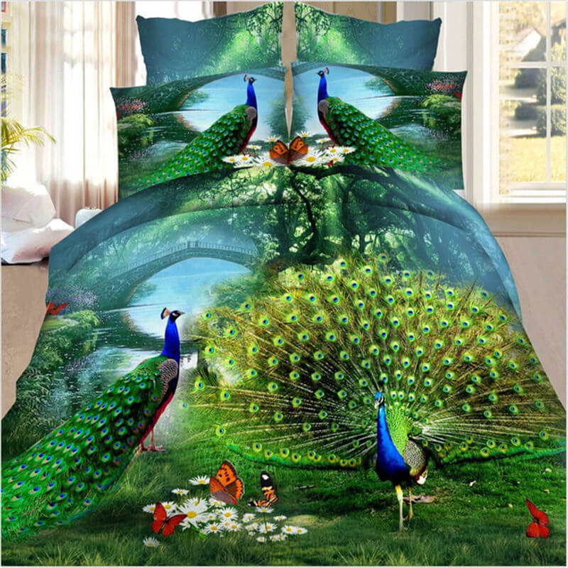 3d peacock bedding