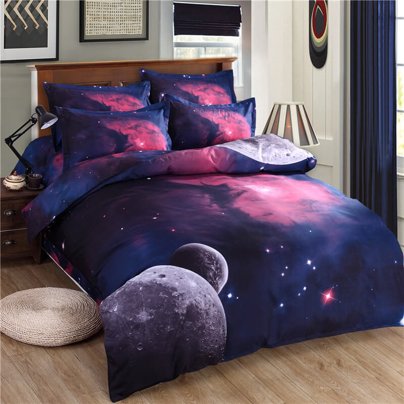 3d purple galaxy bedding sets