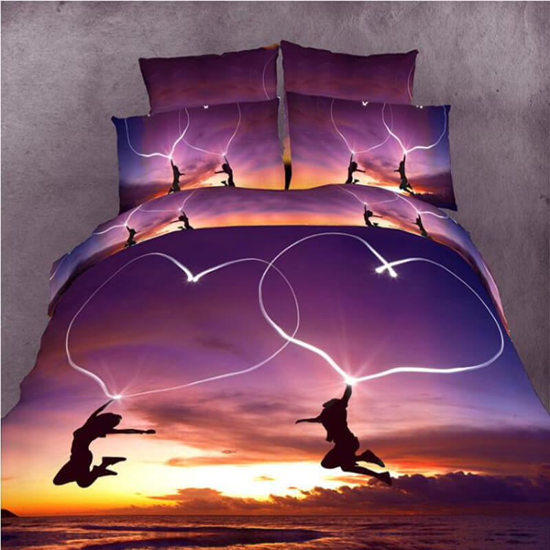 3d sunset bedding