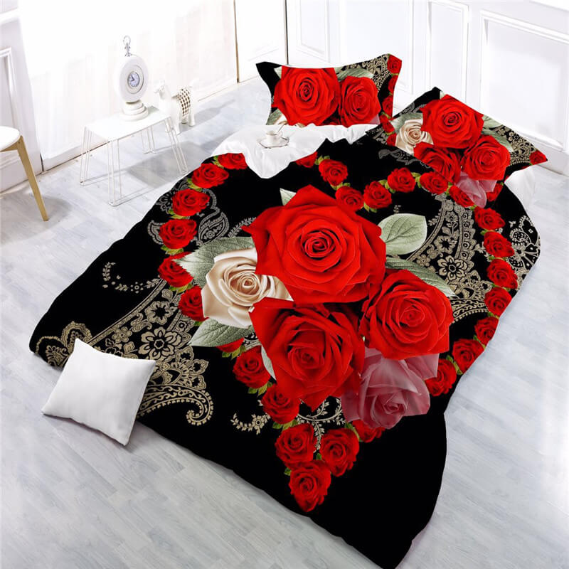 red rose 3d bedding