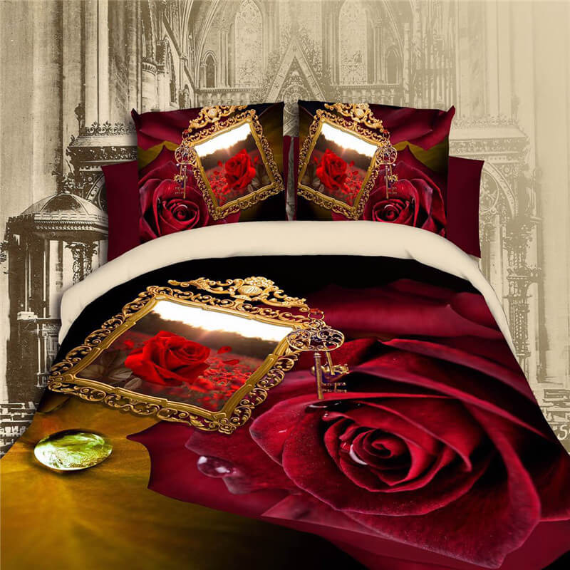 red rose 3d bedding sheets