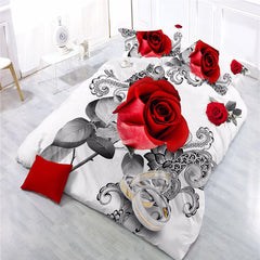 red rose quilt cover sheets