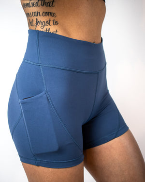 Petra Pocket Shorts- (High-Rise)- Navy - Equinox Movement