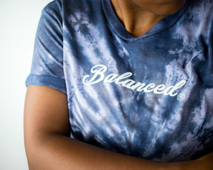 "Tie Dye ""Puffy Script"" Tee- Indigo (Uni-sex) - Equinox Movement"