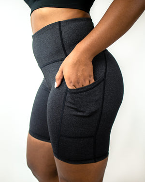 In-Motion Biker Shorts (Pockets)- Charcoal - Equinox Movement
