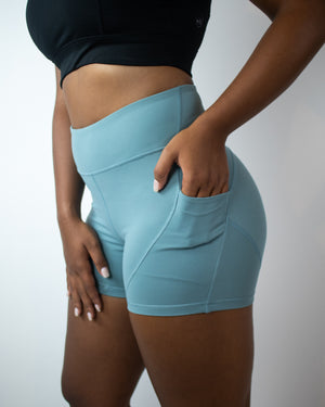 Petra Pocket Shorts- (High-Rise)- Glacier