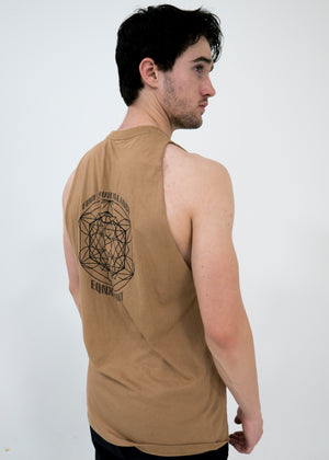 Men's Sacred Geo Tank -Camel Tan - Equinox Movement