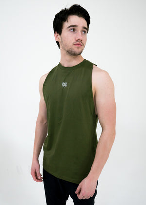 Men's Script Cut-Off Tank -Olive - Equinox Movement