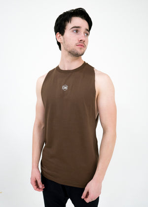 Men's Script Cut-Off Tank -Chestnut - Equinox Movement