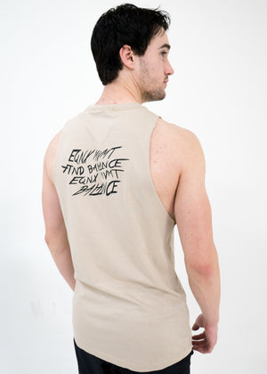 Men's Script Cut-Off Tank -Mushroom - Equinox Movement