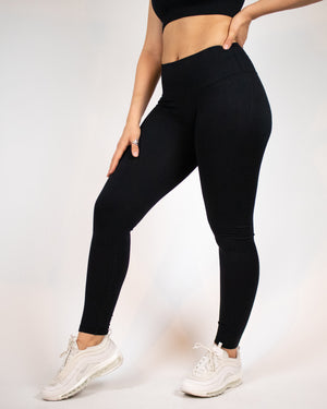 Ribbed Seamless Leggings- Black - Equinox Movement
