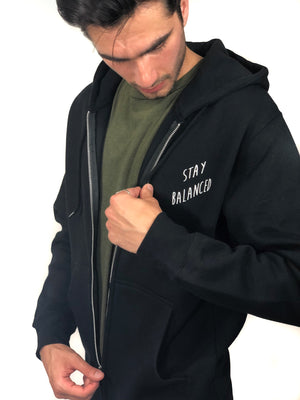 """Stay Balanced"" Zip-Hoodie- Black (Uni-sex) - Equinox Movement"