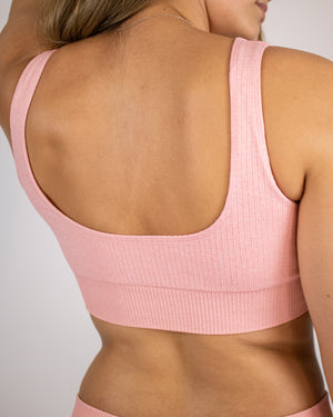 Ribbed Seamless Sports Bra- Pink - Equinox Movement