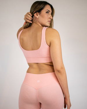 Ribbed Seamless Leggings- Pink - Equinox Movement