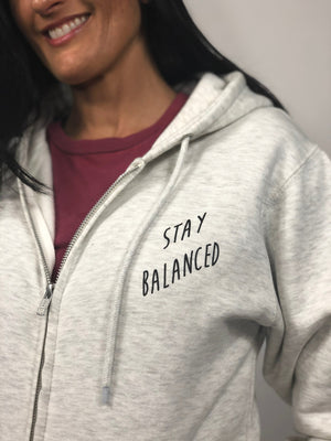 """Stay Balanced"" Zip-Hoodie- Oatmeal Heather (Uni-sex) - EQNX MVMT"
