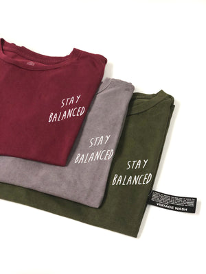 """Stay Balanced"" Vintage Wash Tee- Brick Red (Uni-sex) - Equinox Movement"