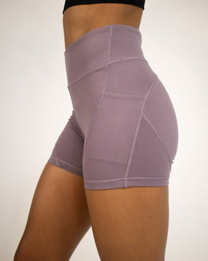 Petra Pocket Shorts- (High-Rise)- Orchid Purple - Equinox Movement