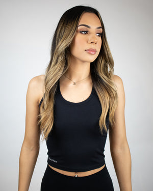 Viva Cropped Tank- Black - Equinox Movement