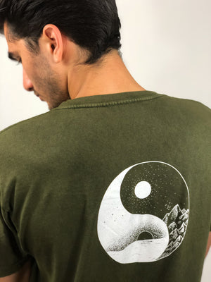 """Stay Balanced"" Vintage Wash Tee- Olive Green (Uni-sex) - Equinox Movement"
