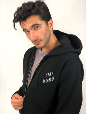 """Stay Balanced"" Zip-Hoodie- Black (Uni-sex) - EQNX MVMT"