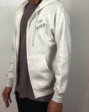 """Stay Balanced"" Zip-Hoodie- Oatmeal Heather (Uni-sex) - Equinox Movement"
