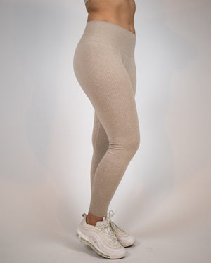 Ribbed Seamless Leggings- Chai - Equinox Movement