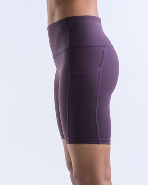 In-Motion Biker Shorts (Pockets)- Amethyst - Equinox Movement