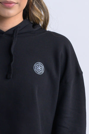 """Flower of Life"" Cropped Hoodie- Black - Equinox Movement"