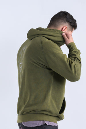 Diamond Skull Hoodie (Uni-Sex)- Vintage Olive - Equinox Movement