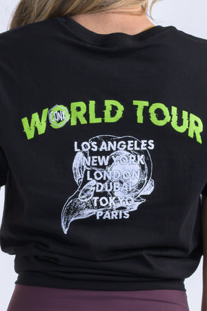 """World Tour"" Uni-Sex Tee- Black & Sand-Shell Tan - Equinox Movement"