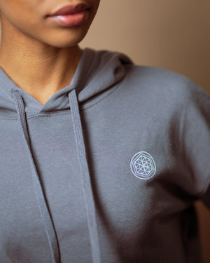 """Flower of Life"" Cropped Hoodie- Storm Grey - Equinox Movement"