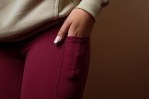 In-Motion Biker Shorts (Pockets)- Cranberry - Equinox Movement