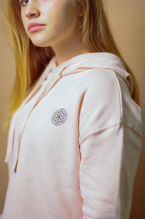 """Flower of Life"" Cropped Hoodie- Dusty Rose - EQNX MVMT"