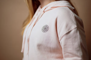 """Flower of Life"" Cropped Hoodie- Dusty Rose - Equinox Movement"