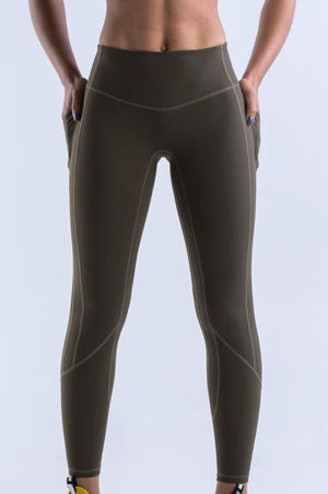 Wanderlust Pocket Leggings- Olive - EQNX MVMT
