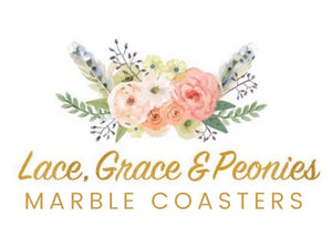 lace grace and peonies marble coasters