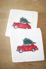 Vintage Car with Christmas Tree Marble Coasters